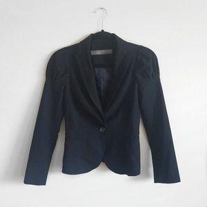 Zara Puff Sleeve Black Fitted Blazer